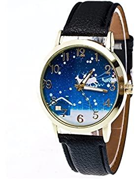 Ouneed® Uhren , 2018 Mode Damen Weihnachten Älteres Muster Lederband Analog Quartz Vogue Uhren