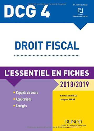 DCG 4 - Droit fiscal - 2018/2019 - L'essentiel en fiches par Emmanuel Disle