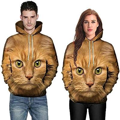 Paar 3D Katze Print Langarm-Sweatshirt, JiaMeng Hoodies Sweater Kapuzenmantel mit Kapuze Pullover Bluse Shirts