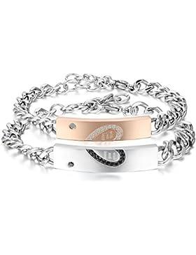 Oidea 1 Paar(2PCS) Herren Damen freundschaftsarmbänder mit gravur Armband, Edelstahl Herz Puzzle Lieben Freundschaftsarmband...