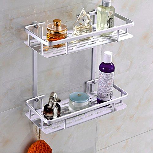 Tukzer® Nuevo 2 Capas baño repisa estantes de baño ducha cocina toalla titular aluminio blanco plateado, montado en la pared