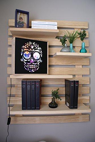 Liza line libreria da parete stile vintage, libreria a giorno con 4 ripiani regolabili in vero pino massello, ideale per corridoio, cucina, salotto, bagno, camera. 101x80x21 cm