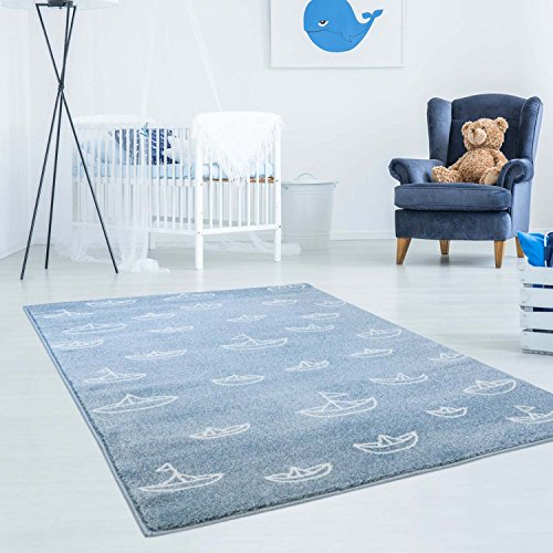 Kinderteppich Hochwertig Bueno mit Maritimen Muster, Segelboote in Blau/ Weiß mit Glanzgarn für Kinderzimmer Größe 160/230 cm
