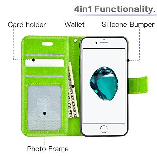 Fraelc® iPhone 7 Plus Hülle Lederhülle Handyhülle Standfunktion & Card Holder Schutzhülle für iPhone 7 Plus 5,5 Plus Zoll (mit 1x Displayschutzfolie + 1x Eingabestift ) - Weiß Grün