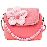 Fablcrew, borsetta da principessa con fiori di peluche e perline per bambine rosa Pink 14x4x12cm