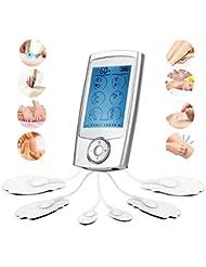 TENS+EMS Nouvelle 16 Modes 6 Applicateurs Appareil de Massage USB Rechagerable Vibrant Eléctrique pour Soulager Dérendre Traiter le Stress Masculaire du Dos Nuque Epaule Reins Jambe Cou Cuisse