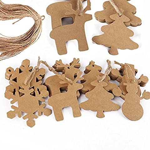 Rzctukltd 100PCS Mix 4 Style Brown Kraft Paper Christmas Gift