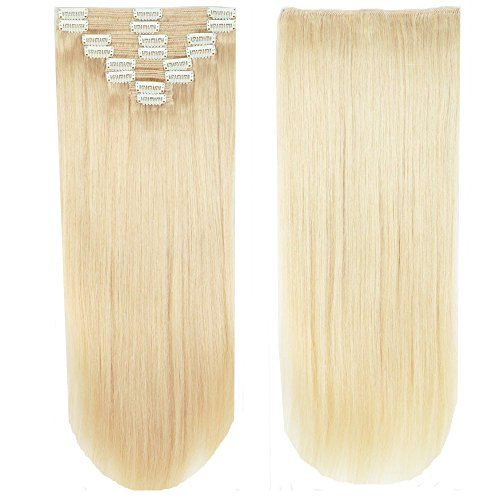 Clip in Extensions Set 100% Remy Echthaar 8 Teilig Haarverlängerung dick Dopplet Tressen Clip-In Hair Extension (55cm-160g,#60 Platinum Blonde)