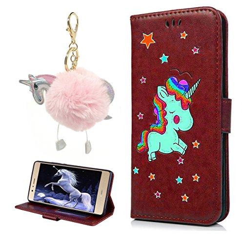 Cover iPhone 7 8 Pelle, E-Unicorn Custodia Apple iPhone 7 8 Pelle Portafoglio Flip Cover a Libro Rosso Unicorno Modello Disegno Brillantini Glitter Case [Supporto Stand][Slot per Schede] TPU Silicone Marrone