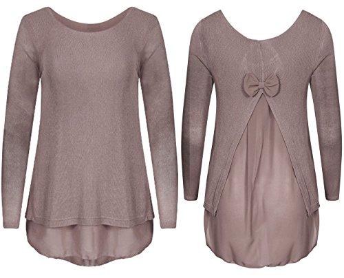 Gugu Fashion -  Maglia a manica lunga  - Donna Mocha