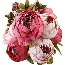 Turelifes, bouquet vintage di fiori artificiali rosa in seta con peonie, per matrimonio o per decorare la casa Dark pink