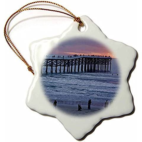 3dRose orn881511 CA San Diego Carcasa de cristal en San Diego Brent Bergherm de copo de nieve decorativo con recortes ornamentales y brillantes, porcelana, 7,62 cm