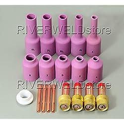 TIG Long Gas Lens Collet Long Alumina Cup Kit Fit DB SR WP 17 18 26 Consumibles de la antorcha de soldadura TIG 19pcs