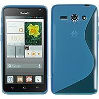 kwmobile Funda para Huawei Ascend Y530 - Case para Móvil en TPU Silicona - Cover Trasero Diseño Línea Curva en Azul Transparente