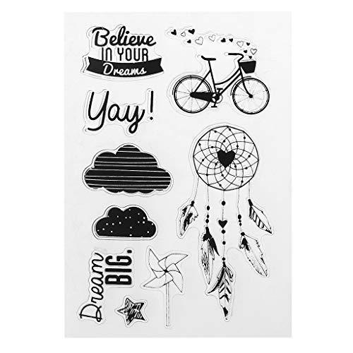 Bogji - PVC Stempel Siegel Fahrrad Dreamcatcher Windmühle Wolke Phantasie Schrift Muster DIY Scrapbook Fotoalbum Karte Tagebuch Decor