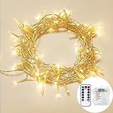 OxyLED OxyLED LED Lichterkette 10M 100LED IP65 Wasserdicht Kupfer Drahtlichterkette mit Fernbedienung und Timer 8 Modi Lichterkette für Garten Hochzeit Party Weihnachten(Warmweiß) [Energieklasse A+++]