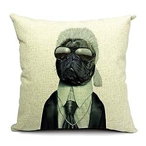 TheOne 4031 en lin/coton Housse de coussin carrée décorative Motif chien s Déguisement Fête Karl Lagerfeld 46 X 46 cm