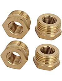 Tradico® 3/8BSP Male X 1/8BSP Female Thread Brass Hex Bushing Pipe Fitting 4pcs