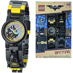 Reloj infantil modificable con figurita de Batman de BATMAN: LA LEGO PELÍCULA; negro/amarillo; plástico; 28 mm de diámetro; Cuarzo analógico| chico chica; oficial