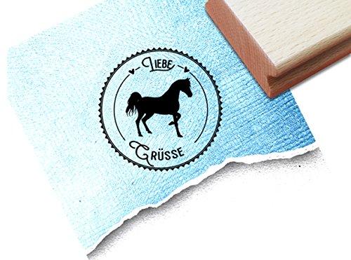 Stempel - Poststempel LIEBE GRÜSSE mit Pferd - Bildstempel Textstempel Hobby Reiten - Geschenk für Kinder und Erwachsene - von zAcheR-fineT