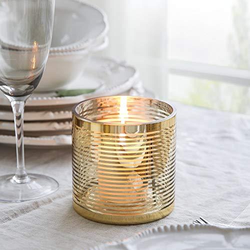 Cyl Home Goldgestreifter Kerzenhalter aus Glas in Zylinderform, Dekoration für Votive, Hochzeit, Wand, Esstisch, Kamin 3.9 Inch Height Gold - Glas Kamin Edelsteine