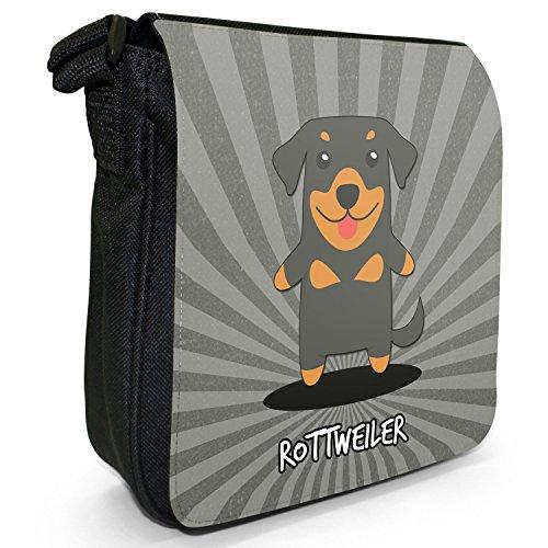 Borsa A Tracolla Piccola Di Cartone Animato Tedesco Da Tela Nera Rottweiler, Rott, Rottie