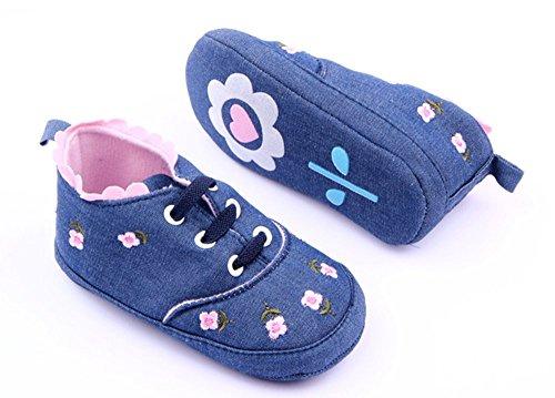 xhorizon ® FLK Kleinkind Baby Mädchen Niedlich Geblümte Blume Weiche Alltägliche Schuhe Dunkelblau