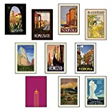 Set of TEN A4 Vintage Travel Posters: Napoli Rome Good Selection