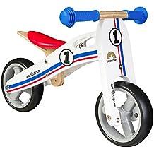 BIKESTAR® 17.8cm (7 pulgadas) Bicicleta sin pedales para los mas pequeños de la casa a partir de 18 meses ★ Edición de madera natural★ Blanco Rallye