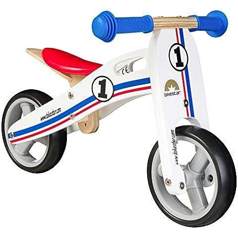 BIKESTAR® 17.8cm (7 pulgadas) Bicicleta sin pedales para los mas pequeños de la casa a partir de 18 meses ★ Edición de madera natural★ Blanco