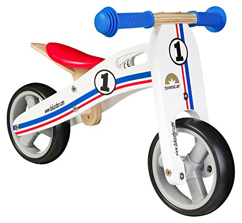 BIKESTAR® Early Bird Bicicletta senza pedali per ardito nano giù ca. 18 mese ★ Edizioni 7ª Natura Legna ★ Bianco Azzurro Rosso Rally Design