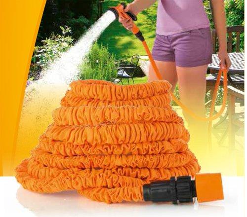 Preisvergleich Produktbild ocona© magischer Gartenschlauch, Wasserschlauch flexiblel ausgedehnt, dehnbar 15m, inkl. Multifunktions-Gartenbrause, orange