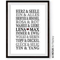 ABOUKI Traumpaar LIEBE - Berühmte Paare, personalisierter Kunstdruck mit Wunschnamen - ungerahmt - Fine-Art-Print Poster, Hochzeitsgeschenk, Geschenkidee