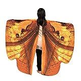 WOZOW Kinder Schmetterling Flügel Kostüm Nymphe Pixie Umhang Faschingkostüme Schals Poncho...
