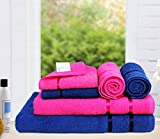 #5: Story@Home 6 Piece 450 GSM Cotton Towel Set - Pink and Navy