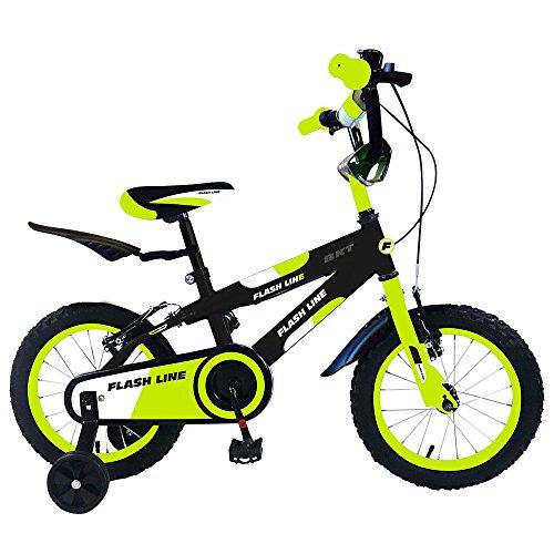Bicicletta per Bambino 12' 2 Freni Star Kids Flash Line Gialla Fluo