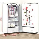 N&B Kleider Schrank Portable Garderobe langlebige Kleidung lagerung vliesstoff kleiderschrank lagerung Organizer mit Hängende Rute und 2 Einlegeböden-C 160x90x45cm(63x35x18)