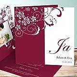 Einladungskarten Hochzeit Vorlagen, Garten der Träume 10 Karten, Quadratische Klappkarte 145x145 inkl. weißer Umschläge, Rot