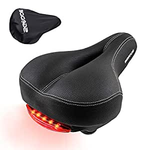 SGODDE Bike Saddle Seat, Waterproof, Safety and Comfortable Bicycle Seat with Safety Taillight, Breathable Memory Foam Padded, Dual Spring Designed Seat Cushion for Cruiser, Mountain Bike, MTB Ro