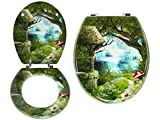 """ADJ LUSH Novelty 18"""" Toilet Seats 3D Resin & MDF 16 Designs with Adjustable Easy Fit Chrome Hinges Bathroom (Enchanted Forest, MDF Wood)"""
