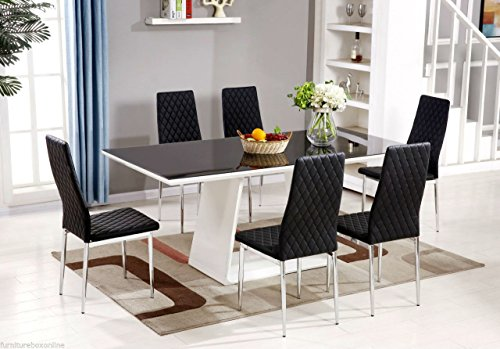 MURANO Black White High Gloss Glass Dining Table Set And 6 Leather Chairs Seater Produced