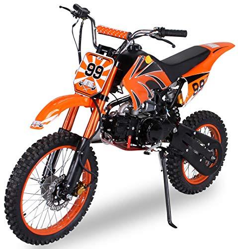 Actionbikes Motors Midi Kinder Jugend Crossbike JC125 125 cc - Hydraulische Scheibenbremsen - CDI Zündung - Bis 80 Km/h (Orange)