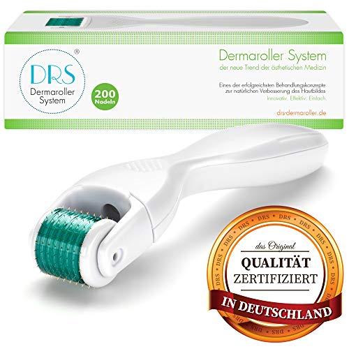 DRS Dermaroller mit 200 runden Nadeln, wechselbarer Aufsatz - das Original, Nadeln aus Edelstahl, Gebrauchsanweisung auf Deutsch und Englisch, Nadellänge:0.25mm