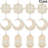 12 Pezzi Ornamento di Mubarak Ciondolo in Legno Vuoto Ramadan Ornamento Appeso Luna Ornamento di Stella Lanterna per Decorazione Festiva della Tavola della Stanza Domestica di Islam Musulmano