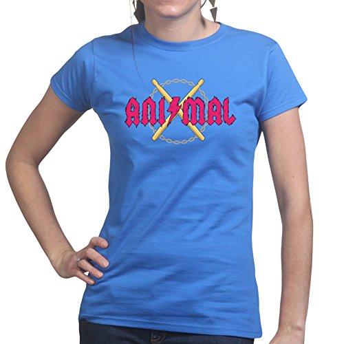 Animal Rock Band Drummer Drums Ladies T shirt Königsblau
