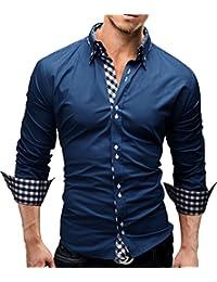 MERISH Herren Business Hemd Slim Fit Button Down Karierte Kontraste Modell 37