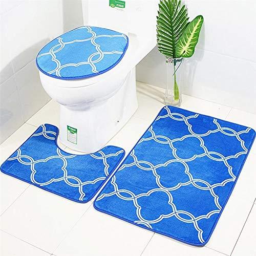 Kontur-badezimmer Teppich (WWDDVH 3 In 1 Laterne Muster Badezimmer-Matte Set Rutschfeste Waschraum Teppich Kontur Matte Wc-Sitz Deckel-Blauw)