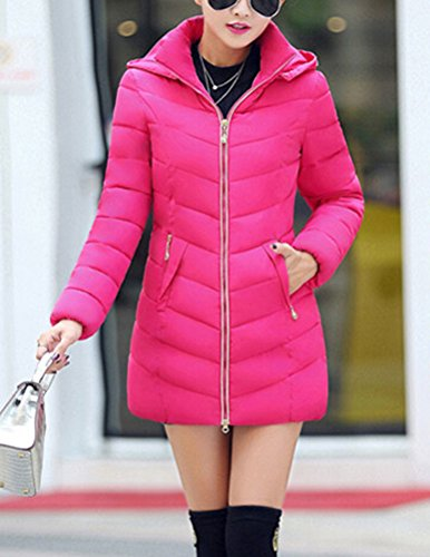 SMITHROAD Damen Mantel Hüftlang mit Abnehmbarer Kunstpelzkapuze Outwear Wintermantel Elegant Regular Fit in 8 Farben Pink