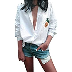 Vovotrade Mujer Piña Blusa Manga larga Camisa Suelto Bolsillo Camisetas Cuello en V Tops (L)