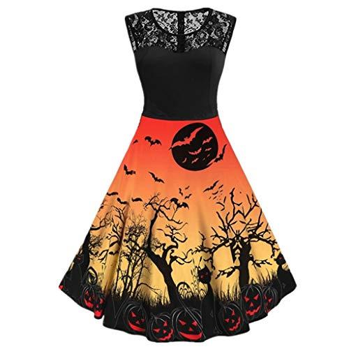Lomelomme Halloween Damen Kleid Halloween Vintage Casual Print Rundhals Ärmellos Kleid mit Spitze Abendmode Knielang Slim Fit - Russisch Kostüm Muster